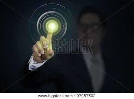 Business Man Pushing A Power Button On Touch Screen Interface. Business, Technology, Internet And Ne