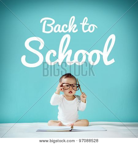 Little Baby And Blackboard With
