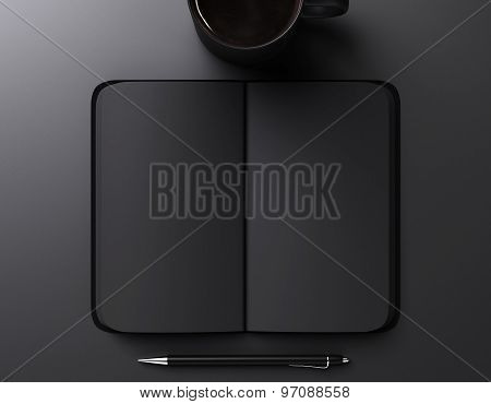Black Blank Notebook, Pen And Cup Of Coffee, Mock Up