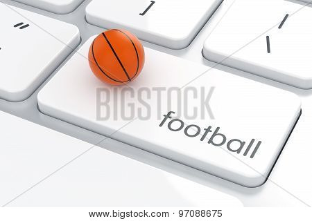 Basketball Ball On The Computer Keyboard