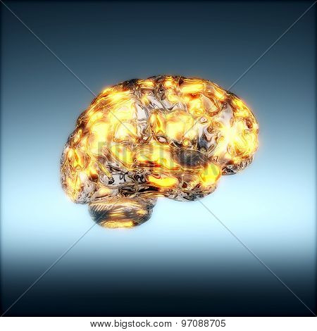 Glass Human Brain With Glowing Light