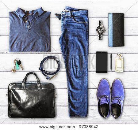 Set Of Men's Clothing And Accessories On A White Wooden Background
