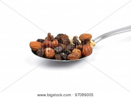 Trail Mix On Spoon