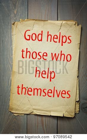 English proverb: God helps those who help themselves. 50 most important english proverbs series