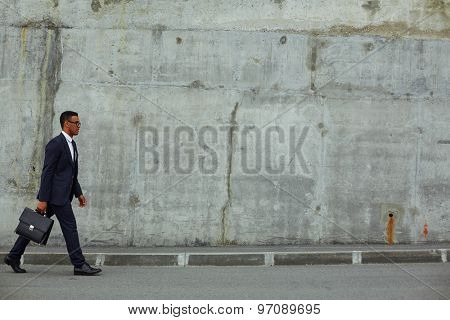 Successful businessman with briefcase hurrying for work