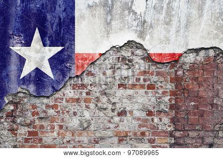 Texas Flag On Grungy Wall