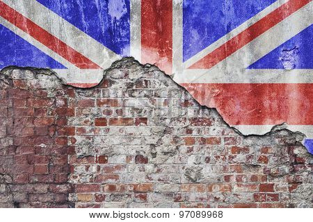 Uk Flag On Grungy Wall