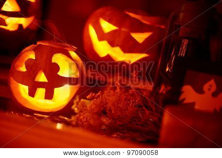 Creepy pumpkin with light inside it