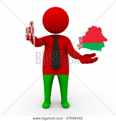 3d businessman people Belarus- with a map of the flag of Belarus