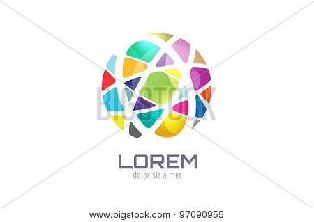 Vector globe abstract logo template. Circle shape and symbol, icon, creative, idea, flow, earth, lin