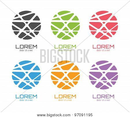 Vector globe abstract logo template set. Circle shape and symbol, icon, creative, idea, flow, earth,