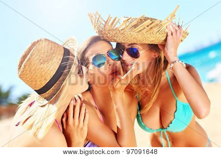 A picture of two women kissing a friend on the beach party