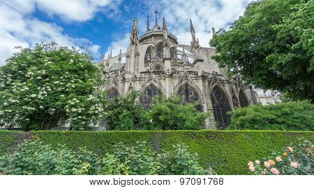 The rear view of the Notre Dame Cathedral in Paris