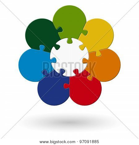 Round Flower Puzzle Colored