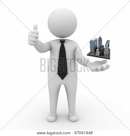 3d businessman people - Megalopolis and cities