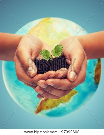 people, ecology, environment, agriculture and food concept - close up of woman hand with green sprout over earth globe over blue background