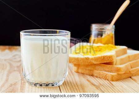 Breakfast With Bread, Jam And Milk