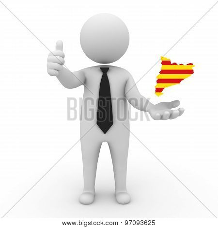 3d businessman people - with a map of the flag of Catalonia