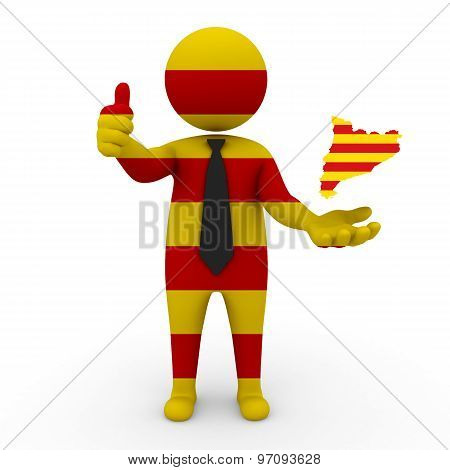 3d businessman people Catalonia - with a map of the flag of Catalonia