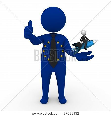 3d businessman people EC  - with a missile in the hands and grow your business