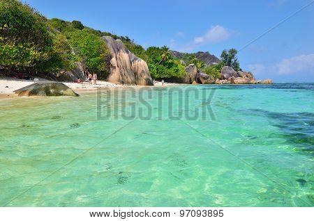 Granite Rocky Beaches On Seychelles Islands, La Digue, Source D'argent