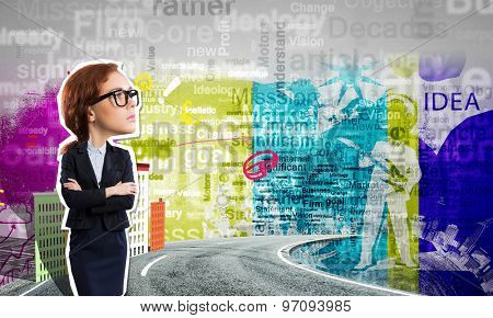 Young confident businesswoman at composite business background