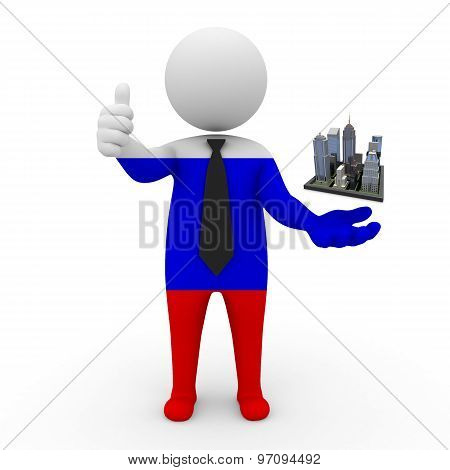 3d businessman people Russia - Megalopolis and cities