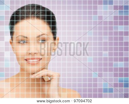 beauty, people and health concept - beautiful young woman with bare shoulders touching her face over violet background with squared grid