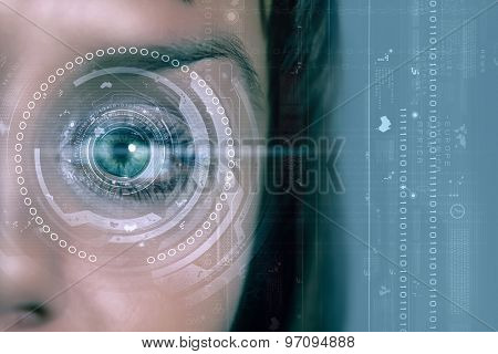 Close up of woman's eye scanned for access