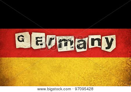 Grunge Flag Of Germany With Text