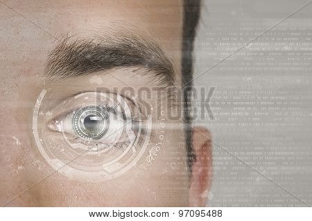 Close up of man's eye scanned for access