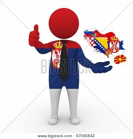 3d businessman people Serbia - with a map of the flag of Yugoslavia
