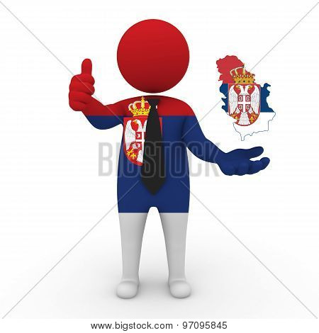 3d businessman people Serbia - with a map of the flag of Serbia