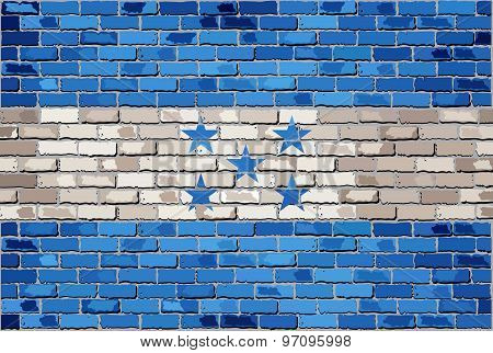 Grunge Flag Of Honduras On A Brick Wall
