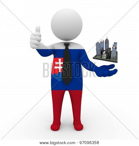 3d businessman people Slovakia - Megalopolis and cities