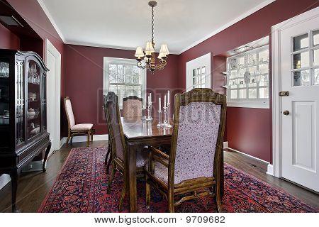 Dining room maroon walls image photo bigstock - Maroon color walls ...