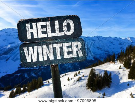 Hello Winter sign with sky background