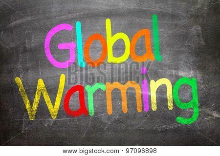 Global Warming written on a chalkboard