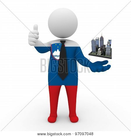 3d businessman people Slovenia - Megalopolis and cities
