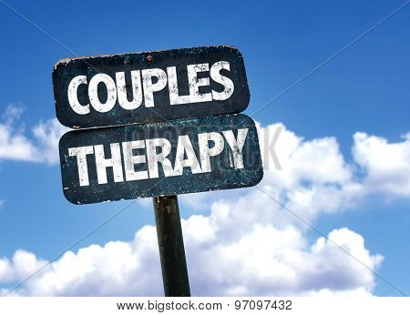 Couples Therapy sign with sky background