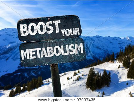 Boost Your Metabolism sign with sky background