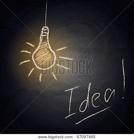 Chalkboard Background With Drawing Lamp. Idea Concept