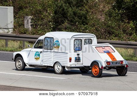 Old Citroen 2Cv With A Trailer