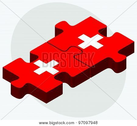 Switzerland And Switzerland Flags