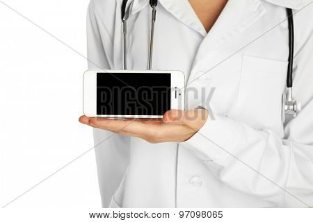 Doctor with stethoscope and smart phone, isolated on white
