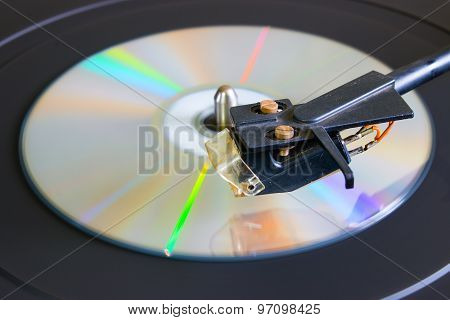 Cd Disc On A Turntable Close-up Side View Selective Focus