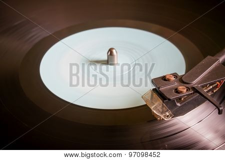 Revolving Vinyl Record On A Turntable Selective Focus