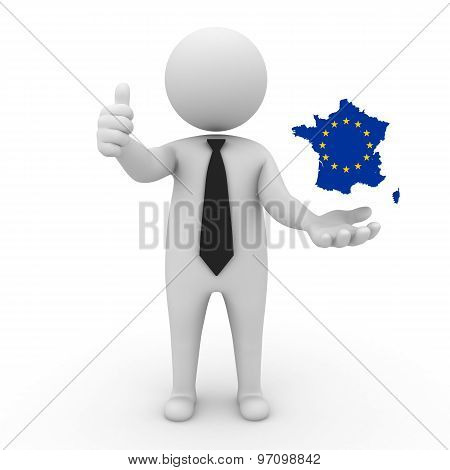 3d businessman people - with a map of the flag of EC-France