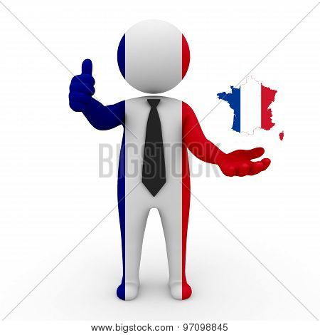 3d businessman people France - with a map of the flag of France