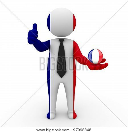 3d businessman people France - in the hands of the spherical icon of France